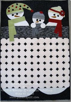 Snuggle Snowmen Quilt {free pattern} - use top part for mug rug