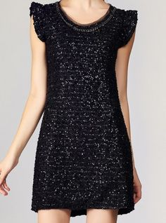 Black Round Neck Sleeveless Sequined Chain Dress. I really don't think this would suit my body type but would love to see a one or two of my friends in it...this is SUPER cute.