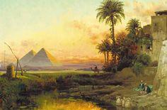 CARL WUTTKE (German, 1849-1927) The Pyramids at Dusk, 1907.