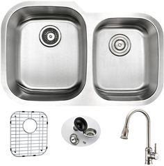 "Moore 32"" x 20.75"" Double Bowl Undermount Kitchen Sink with Faucet, Sink Grid and Drain Assembly"