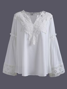Plus Size Lace Spliced Crochet Blouse