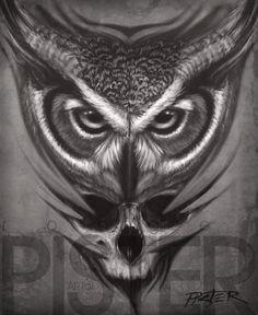 Owl and Skull by RodgerPister on DeviantArt Owl Neck Tattoo, Owl Skull Tattoos, Owl Tattoo Drawings, Bird Tattoo Back, Body Art Tattoos, Lyric Tattoos, Day Of Dead Tattoo, Tattoo Bauch, Throat Tattoo