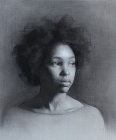 Charcoal Drawing Ideas George Morton, beautiful African-American black young woman portrait, charcoal and white chalk on grey paper drawing. Florence Academy of Art. Portrait Sketches, Pencil Portrait, Female Portrait, Portrait Art, Female Art, Woman Portrait, Portrait Ideas, Pastel Drawing, Painting & Drawing
