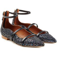 Malone Souliers Glitter Ballerinas (14 225 UAH) ❤ liked on Polyvore featuring shoes, flats, black, pointy-toe flats, leather ballet flats, glitter ballet flats, pointed ballet flats and black pointy toe flats