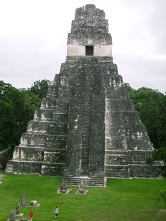 ancientart:  Tikal Temple I,located in the Petén Basin region of northern Guatemala. Dates to approximately 732 AD. It also is known as the Temple of the Great Jaguar because of a lintel that represents a king sitting upon a jaguar throne. Another name is the Temple of Ah Cacao, for the ruler buried in the temple.