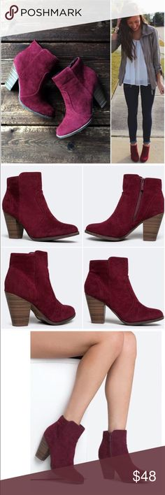 """NIB Burgundy/Wine Ankle Booties NIB Wine/Burgundy Ankle Booties. Pair these beautiful booties with skinnies or a dress -- such a beautiful color for fall and winter! Features a wooden heel, decorative stitching, and inner ankle zipper closure. Non-skid sole, cushioned footbed. Heel is approx 3.5"""", shaft is 7.5"""" height, opening circumference approx 10.5"""". Fits true to size, vegan suede. 🚫No Trades and No Paypal🚫 PRICE IS FIRM, but can discount in a bundle. Shoes Ankle Boots & Booties"""