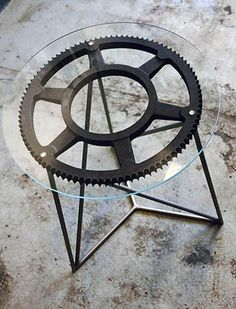 Gear Sprocket Man Cave Furniture End Table