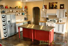 $5000 Handbuilt Vintage Kitchen – The Budget Breakdown - love the stainless steel island and built in hood (all DIY)