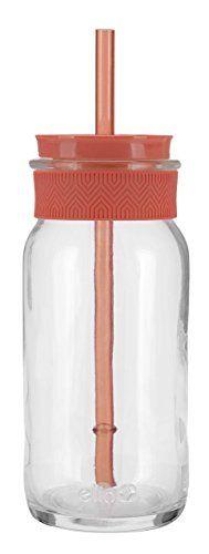 Ello Coachella BPA-Free Glass Sipper with Straw, 20 oz, Coral Ello