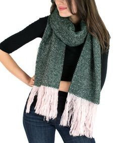 Another great find on #zulily! Green Fringe Blanket Scarf #zulilyfinds
