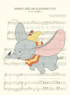 Here is a music sheet art print of the famous elephant from Disneys Dumbo on the music sheet for the song When I See an Elephant Fly. This is perfect for any Dumbo/Disney fanatic!  We print this on quality ivory card stock paper, which measures approximately 8.5x11, and ship it in a heavy-duty envelope to ensure it arrives intact. FRAME NOT INCLUDED.  11x17 Poster: $20.00 18x24 Poster: $30.00 24x36 Poster: $45.00  Take advantage of our Buy 2 Prints, Get 1 Free special! Simply purchase an...