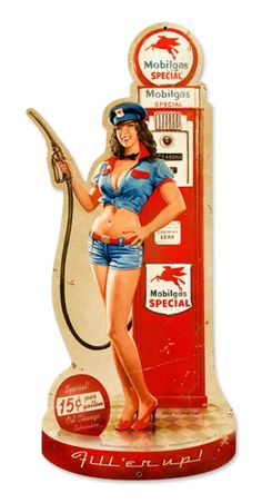 .15 per gallon with full service: oil, tires, windows, water...usually no pinup girl.