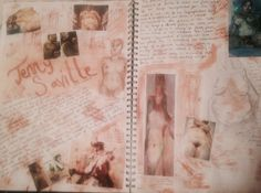 Page from my sketchbook. Artist research on Jenny Saville