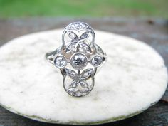 Charming Antique - Vintage 14K White Gold Old Cut Diamond Ring - Old European and Rose Cuts - Floral Leaf Design - with Appraisal. $612.00, via Etsy.