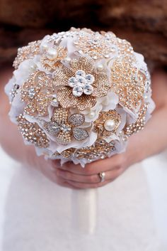 Custom Gold Brooch Bouquet - Bridal Bouquet, Wedding Bouquet, Jeweled Bouquet, Silk Flower Bouquet - 9 inch Bouquet