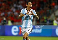 Angel Di Maria of Argentina celebrates after scoring the first goal his team during a match between Chile and Argentina as part of FIFA 2018 World Cup Qualifiers at Nacional Stadium on March 24, 2016 in Santiago, Chile.