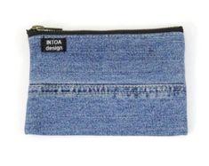 Denim Pouch of recycled jeans Dark Blue 18 x 18 cm