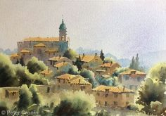 Somewhere in Tuscany Watercolors, Watercolor Paintings, Tuscany, Buildings, Art, Cities, Watercolour Paintings, Watercolor Drawing, Watercolor Drawing