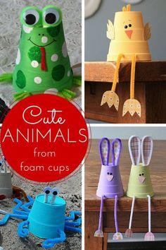 Make cute animals from foam cups! (Amanda Formaro, Crafts by Amanda)