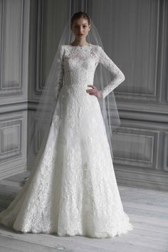 lace sleeves, Monique Lhuillier