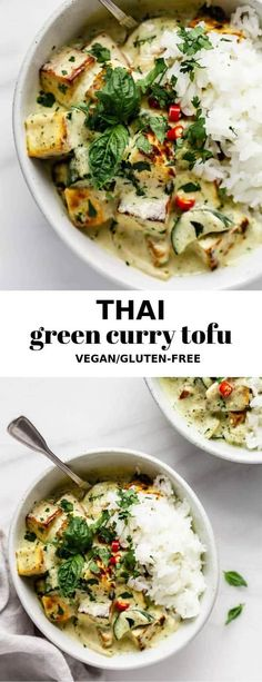 Green Curry Tofu Got 30 minutes? That's all you need to make this delicious green curry Tofu that tastes just like your in Thailand!Got 30 minutes? That's all you need to make this delicious green curry Tofu that tastes just like your in Thailand! Easy Vegan Dinner, Vegan Dinner Recipes, Vegan Dinners, Vegetarian Recipes, Vegetarian Curry, Tofu Recipes, Indian Food Recipes, Asian Recipes, Healthy Recipes