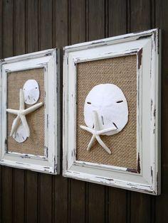 Cottage Chic Seashell Wall Art, Starfish Decor, Beach Home Decor, Framed Starfish, Shabby Chic, Old World Chippy Distressed Frame