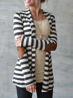 Color-block Long Sleeve Striped Patch Coat 14.00
