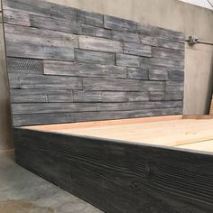 The Amanda grey driftwood finished bed with horizontal staggered patched recycled reclaimed wood headboard Reclaimed Wood Headboard, Weathered Wood, Modern Industrial, Modern Rustic, Farmhouse Bookcases, Headboard Art, Diy Platform Bed, Wood Beds, Solid Wood