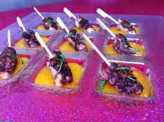 "Grilled Octopus w/ Mango-Habanero Purée from Chef Roble, The colors alone make this sexy appetizer scream ""la Crema""!"