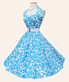 Nothing says Vintage Spring like a Floral Number! Our Stunning Halter Neck Circle dress in Blue Rose is a stunning spring must have! Add a Petticoat and white accessories and soak up the summer sun! This fabulous print is also available in our new Grace dress! take a peek at them all now and start planning your spring outfits at:http://www.vivienofholloway.com/