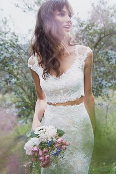 Wedding Trends - Bridal Separates - Wedding Trends - BHLDN Bridal Separates - 2 piece wedding dress - 2 piece bridal attire - short sleeve wedding dress - Top Wedding Trends - - dresses two piece 5 Wedding Trends We Can't Get Enough Of! 2 Piece Wedding Dress, Wedding Dress Separates, Bridal Separates, Top Wedding Dresses, Wedding Dress Chiffon, Classic Wedding Dress, Bridal Dresses, Wedding Gowns, Wedding Crop Top