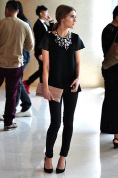 all black with statement necklace