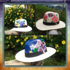 Sombreros pintados a mano Painted Hats, Hand Painted, Hat Decoration, One Stroke Painting, Hat Making, Fabric Painting, Beret, Sun Hats, Caps Hats