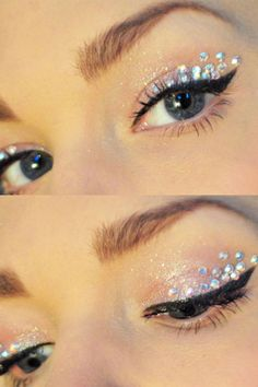 make up guide jewels eye makeup diamontes perfect sparkle eyeshadow make-up glitter silver make up glitter;make up brushes guide;make up samples; Gem Makeup, Jewel Makeup, Beauty Makeup, Makeup Looks, Hair Beauty, Crystal Makeup, Galaxy Makeup, Fairy Makeup, Makeup Style
