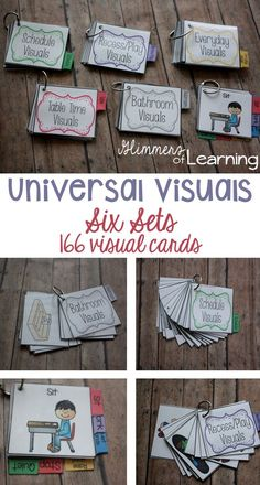 """These are awesome!! Visuals are key to support students with disabilities but they have also been proven to help ALL students! Visuals are all stated in a positive language. Example """"quiet hands"""" instead of """"No hitting."""" Positive language is shown to decrease negative behavior more effectively. You get a set of 6 and 166 visual cards!!"""