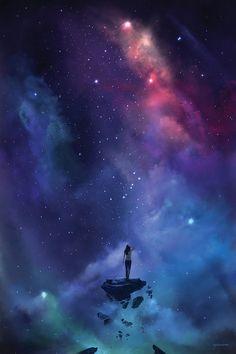 Night Sky Wallpaper, Anime Scenery Wallpaper, Galaxy Wallpaper, Galaxy Painting, Galaxy Art, Fantasy Magic, Sky Art, Fantasy Landscape, Amazing Art