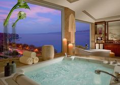 Turn on the jets, this is a bathtub made for long soaks while the sun sets.