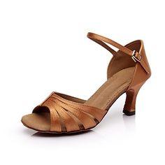 Customizable Women's Dance Shoes Latin Satin Customized Heel Brown/Other 2433201 2016 – $19.99