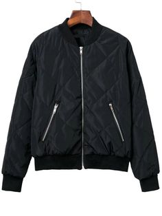 Black Diamond Quilted Bomber Jacket With Zipper
