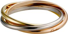Trinity de Cartier Les Must fine ring, 3 bands White gold, yellow gold, pink gold  Thin bands prettiest (and most inexpensive)