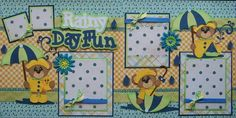 "Bears and Umbrellas ""Rainy Day Fun"" (Scrapbook Paper Piecings)"