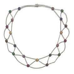 18k White Gold Sapphire Tsavorite Ruby by UniqueRepeatsJewelry