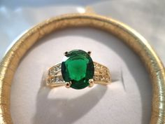 STUNNING 10KT GOLD FILLED 3 CARAT SIMULATED OVAL EMERALD, CUBIC ZIRCONIA RING #Unbranded #SolitairewithAccents