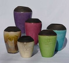 Vase handmade raku pottery - ceramics Fabienne l'hostis