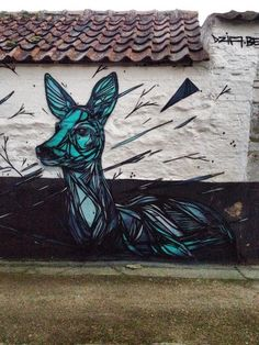 Stunning Animal Street Art Made with Geometric Lines by Dzia - My Modern Met