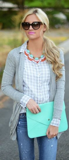 .I like this necklace. I have a mint purse and gray gingham shirt.
