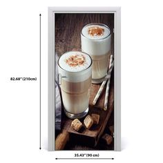 3D Home Art Door Self Adhesive Removable Sticker Decal Food Latte DS_92