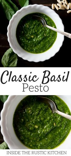 An easy authentic pesto recipe made with basil, pine nuts, cheese, garlic and oil. Made with simple ingredients this basil pesto recipe is incredibly delicious and easy to make (less than 5 minutes) all you need is a blender! Pesto is great on pasta, salads, sandwiches, pizza and much more. More authentic Italian recipes at Inside The Rustic Kitchen via @InsideTRK