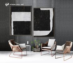 Ethan Hill Art - Abstract Painting Original Art Geometric Painting Large Paintings on Canvas, Black and White Set of 2 Painting. FREE shipping with DHL, FedEX International Express to everywhere in the world! ------------------------------- DETAILS ------------------------------- *