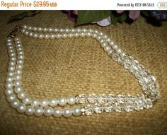 Beaded Necklace Faux Pearls Acrylic Faceted Beads Rhinestone